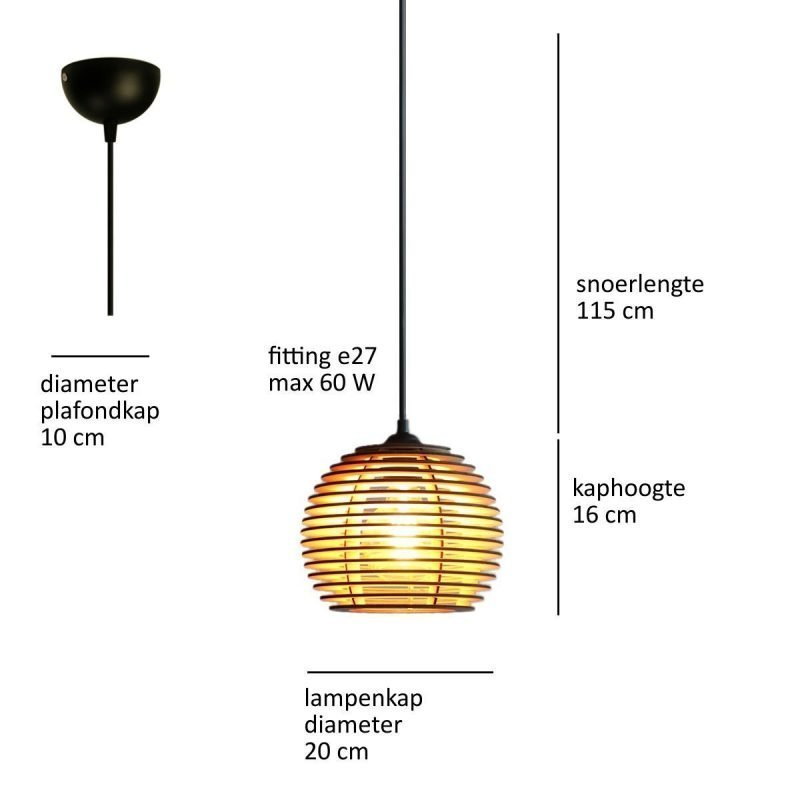 houten hanglamp - design lamp - model Alpha - details
